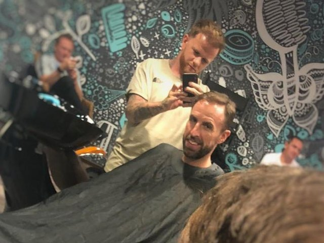 Simon Townley cut Gareth Southgate's hair at the 2018 World Cup in Russia.
