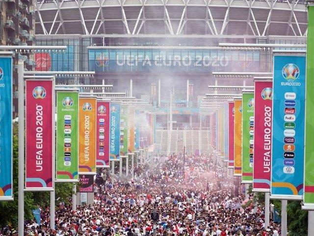 Fans outside Wembley Stadium as England prepare to take on Italy
