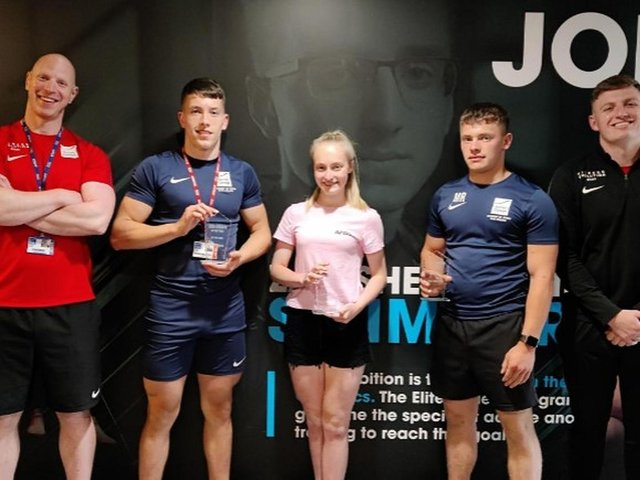 (Left to Right) Lead strength and conditioning coach Nathan Norris, Ethan Rogers, Daisy Oldfield, Mac Rowntree, and assistant strength and conditioning coach Samuel Graham.