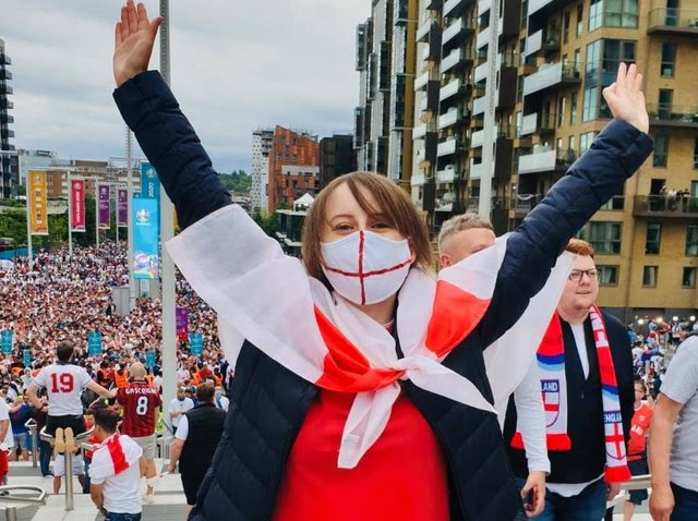 Laura arrives at Wembley to watch England v Italy in the Euro 2020 final on Sunday night
