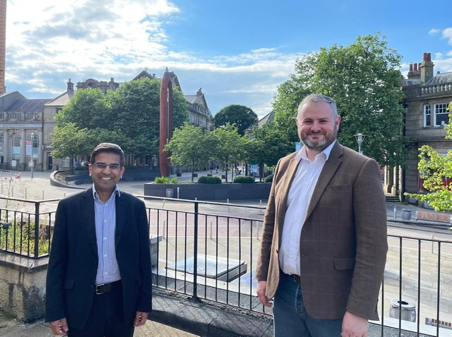 Andrew Stephenson MP and Pendle Council leader Coun. Nadeem Ahmed celebrate successful Nelson Town Deal bid