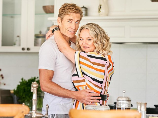 Anna (Charlie Brooks) and Jake (Brett Tucker) settle into their new home in the Channel 5 drama Lie With Me. Picture: Fremantle Media/Channel 5
