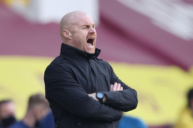 Burnley Sean Dyche shouts from the touchline during the English Premier League football match between Burnley and Arsenal at Turf Moor in Burnley, north west England on March 6, 2021.