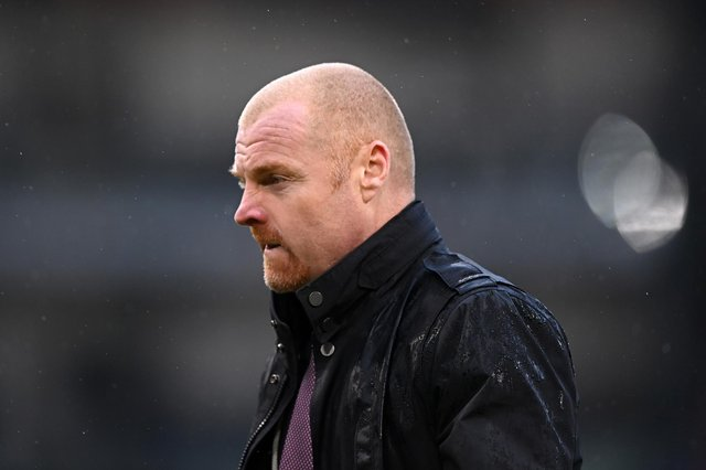 Sean Dyche, manager of Burnley, looks on during the Premier League match between Burnley and Brighton & Hove Albion at Turf Moor on February 06, 2021 in Burnley.
