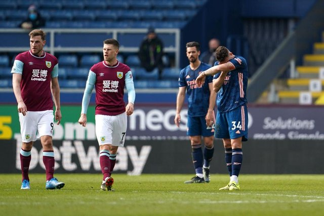 Granit Xhaka of Arsenal looks dejected after making an error leading to a Burnley goal. (Photo by Jon Super - Pool/Getty Images)