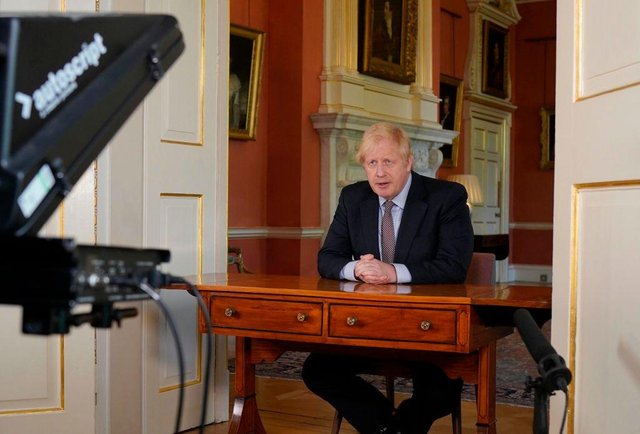 Prime Minister Boris Johnson records his televised message to the nation released on May 10 (Photo: No 10 Downing Street via Getty Images)