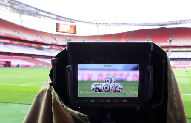 A general view inside the stadium is seen through a TV camera prior to the Premier League match between Arsenal and West Bromwich Albion at Emirates Stadium. (Photo by Richard Heathcote/Getty Images)