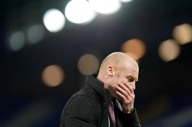 Sean Dyche, manager of Burnley, looks on during the Premier League match between Everton and Burnley at Goodison Park.