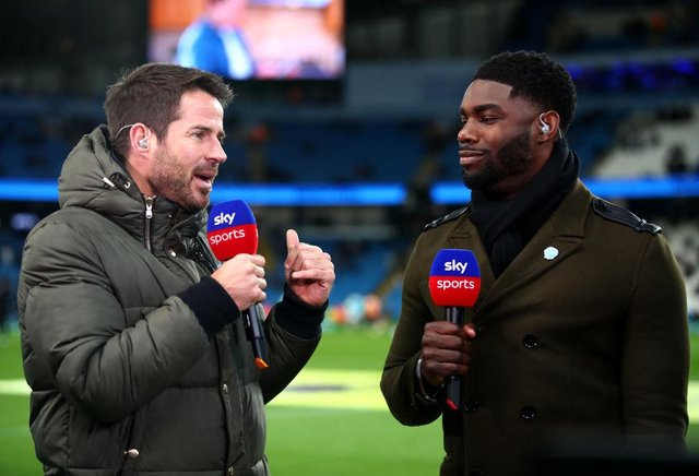Jamie Redknapp talks to Micah Richards. (Photo by Clive Brunskill/Getty Images)